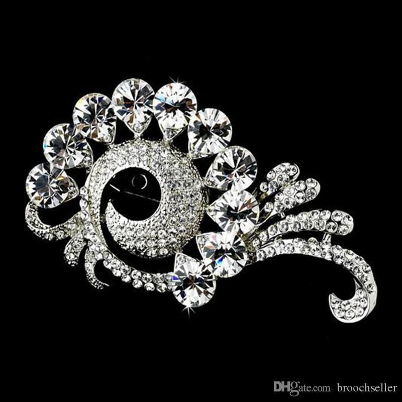 Antiek verzilverd Clear Rhinestone Crystal Sparkly Broche Pins