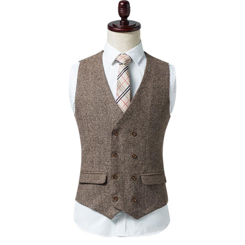 Customized Vintage Double-breasted Tweed Vest Wool Herringbone Groom Vests Pockets Men's Suit Vests Slim Fit Men's Dress Vest Wedding Waistc