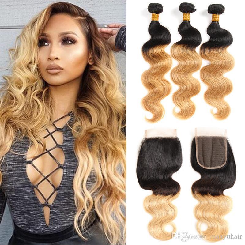 T 1B 27 Dark Root Honey Blue Wave Ombre Human Hair Weave 3 Bundles with Leder Closure Brazilian Virgin Hair Extensions Weft