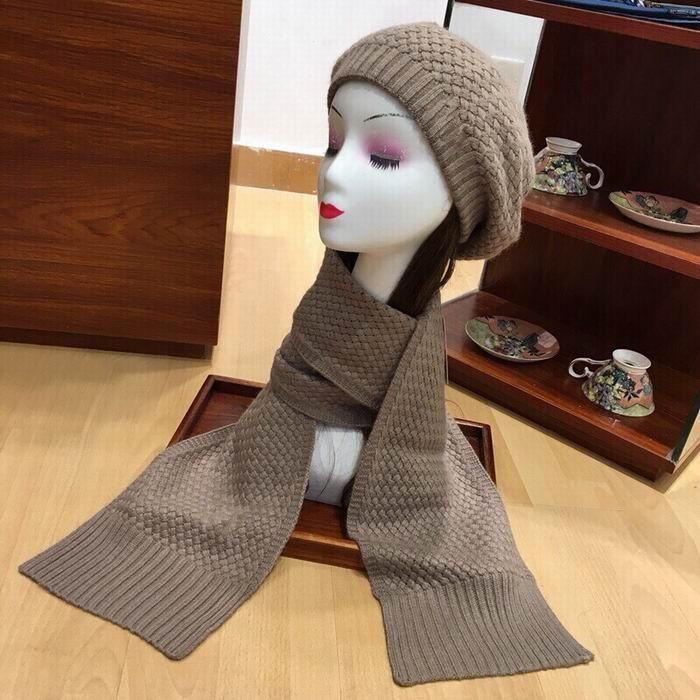2020 novos blocos de algodão chegada tricô marrom chapéus cachecóis Define cap alta qualidade de inverno confortável chapéus quentes e lenços das mulheres com caixa