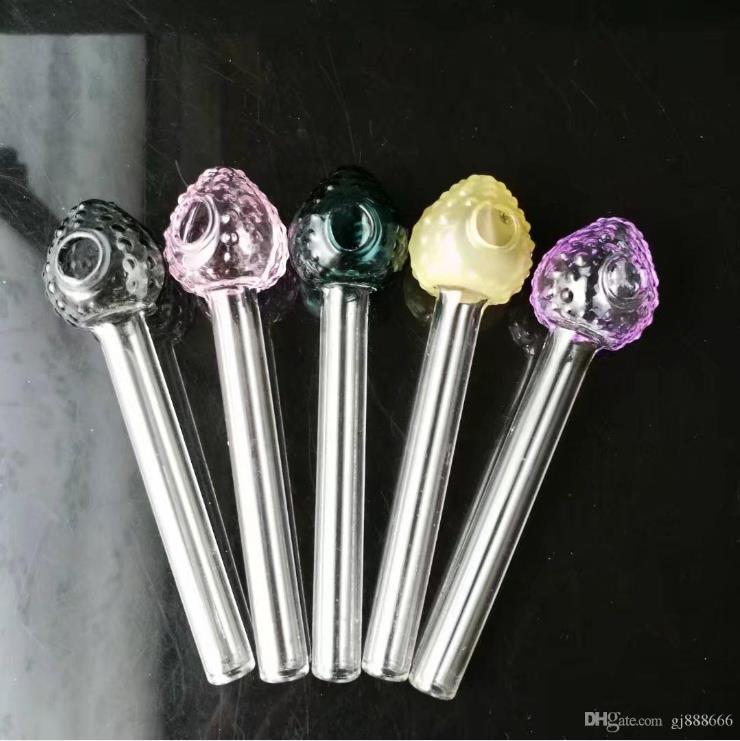Çilek baş kazanları cam bong aksesuarları, Cam Sigara Borular renkli mini çok renkli El Boruları En İyi Kaşık glas
