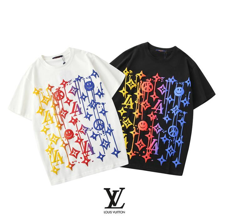 Высокого качество новой моды футболка геометрического письмо печати футболка хлопок мужчины и женщины рубашка вокруг шеи унисекс случайных футболки с коротким рукавом q7