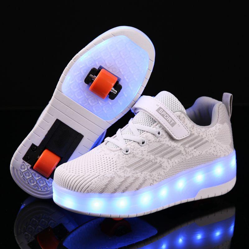 Niños USB LED de carga de los zapatos del rodillo de luz brillante hasta zapatillas de deporte zapatos luminosos con ruedas para niños rodillos de skate para chicas chico