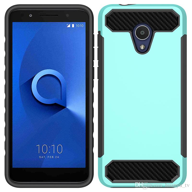Carbon Fibre Phone Case For Alcatel 1X Evolve Samsung Galaxy A6 2018  Metropcs TPU+PC 2 In 1 Anti Fall Back Cover Shell Oppbag Cell Phone Leather  Cases