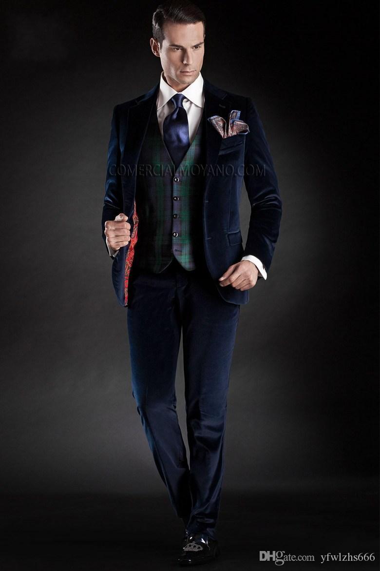 Classic Notch Lapel Wedding Tuxedos Slim Fit Suits For Men Groomsmen Suit Three Pieces Cheap Prom Formal Suits (Jacket+Pants+Vest+Tie) 538