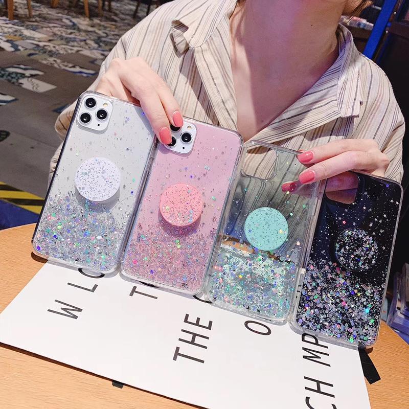 3D الماس حامل الوقوف بريق قضية الهاتف السيليكون للحصول على اي فون X XR XS برو 11 ماكس 6S 7 8 بالإضافة لسامسونج A50 S9 S10 ملاحظة 10 9