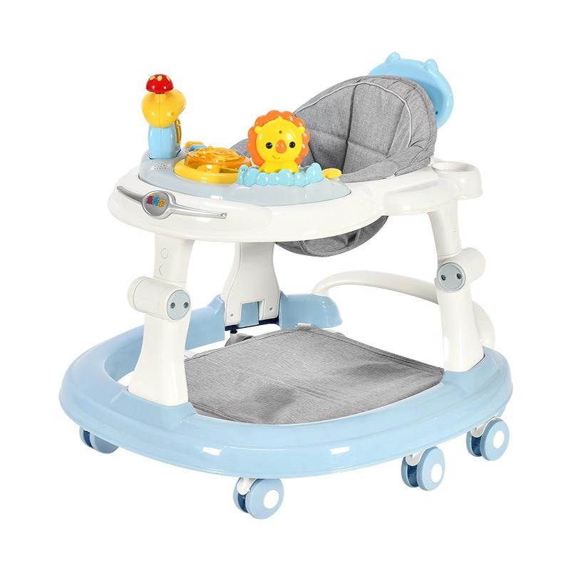 Baby Walker with 6 Mute Rotating Wheels Anti Rollover Multi-functional Child Walker Seat Walking Aid Assistant Toy0-18M