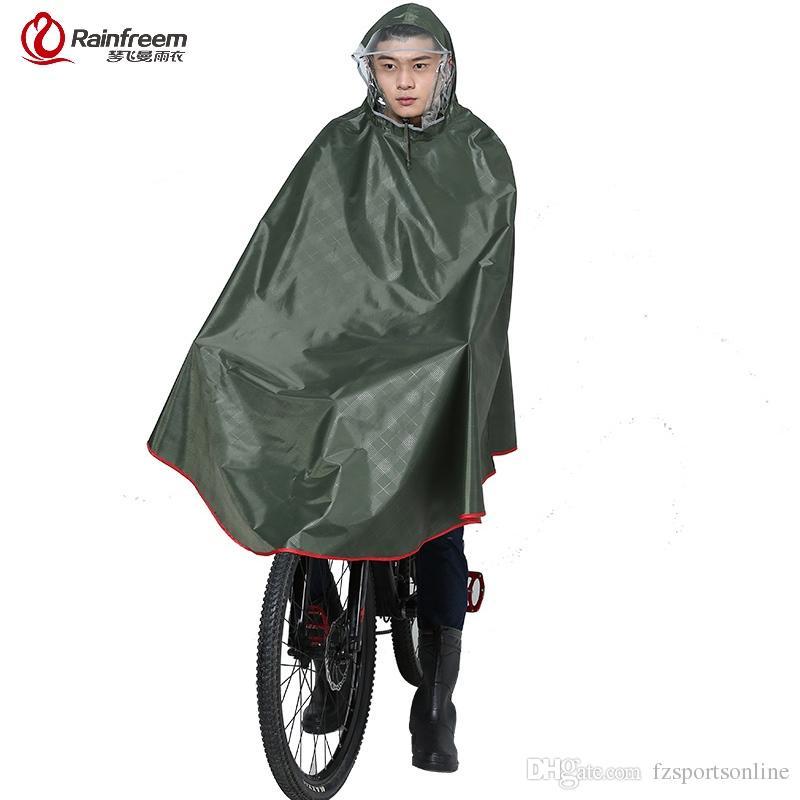 Rainfreem Impermeable Raincoat Women/Men Thick Bicycle Rain Poncho Plaid Oxford/Knitting Jacquard Women Waterproof Rain Gear #219931