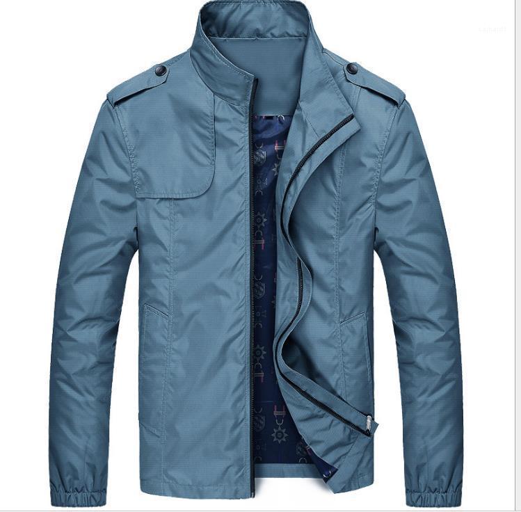 Collare Maniche lunghe Cotton Jacket Uomo Abbigliamento Uomo Primavera Autunno Jacket Solid Zipper Fly Coats stand