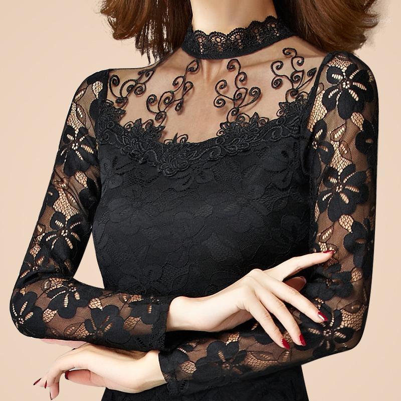 Wholesale-novo sexy moda mulheres de alta qualidade lace manga longa turtleneck fina t-shirt feminino primavera outono outono preto branco tops1