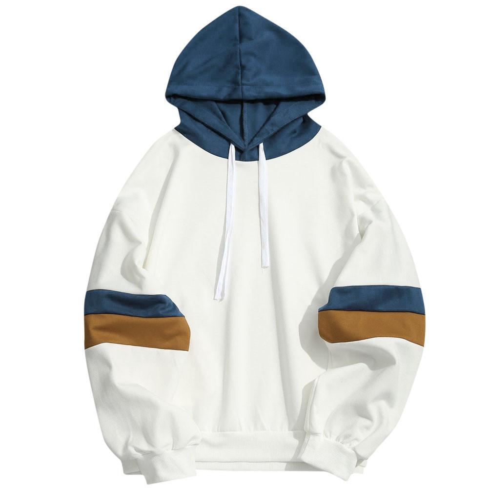 patchwork casuale degli uomini di marca camicia felpa con cappuccio di cucitura parallele sottile giacca con cappuccio hip hop velo