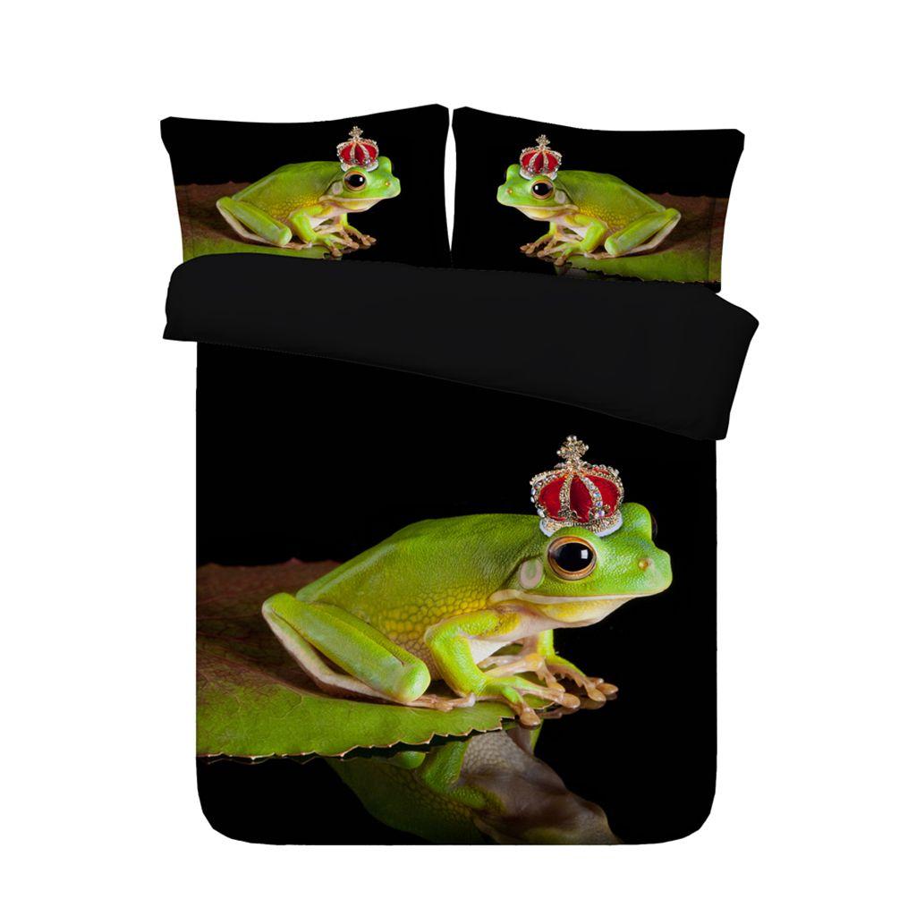 3D verde Frogs edredon cobrir Set Lençóis decorativa 3 peça cama Set Com 2 Pillow Shams Colcha decorativa para meninos Crianças Adolescentes Adultos