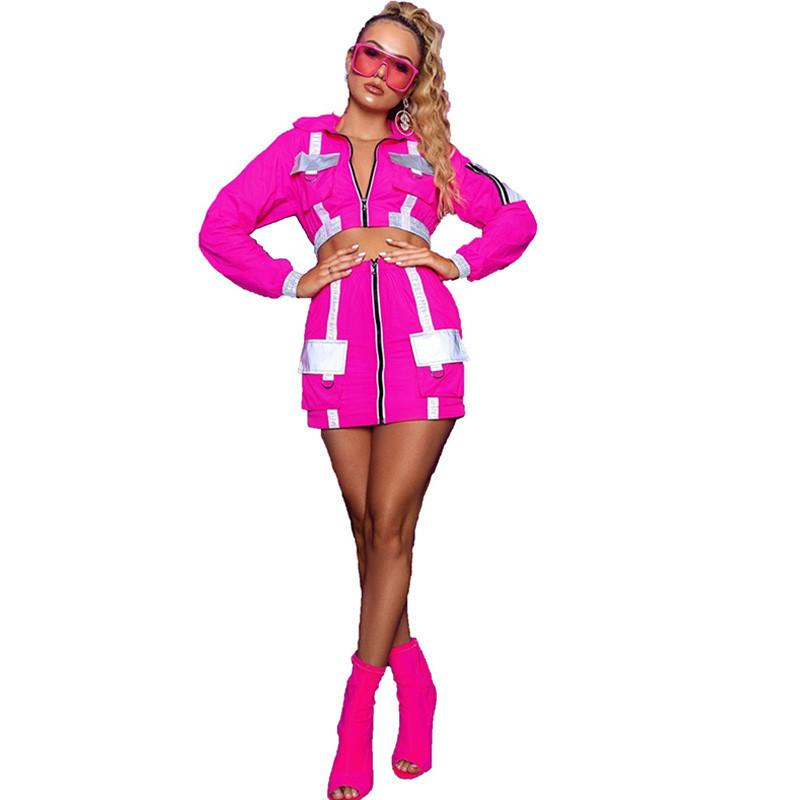 2019 نيون اللون قطعتين تنورة مجموعة النساء جيوب سستة طويلة الأكمام المحاصيل الأعلى والتنانير البسيطة دعوى مثير 2 قطعة ملابس clubwear