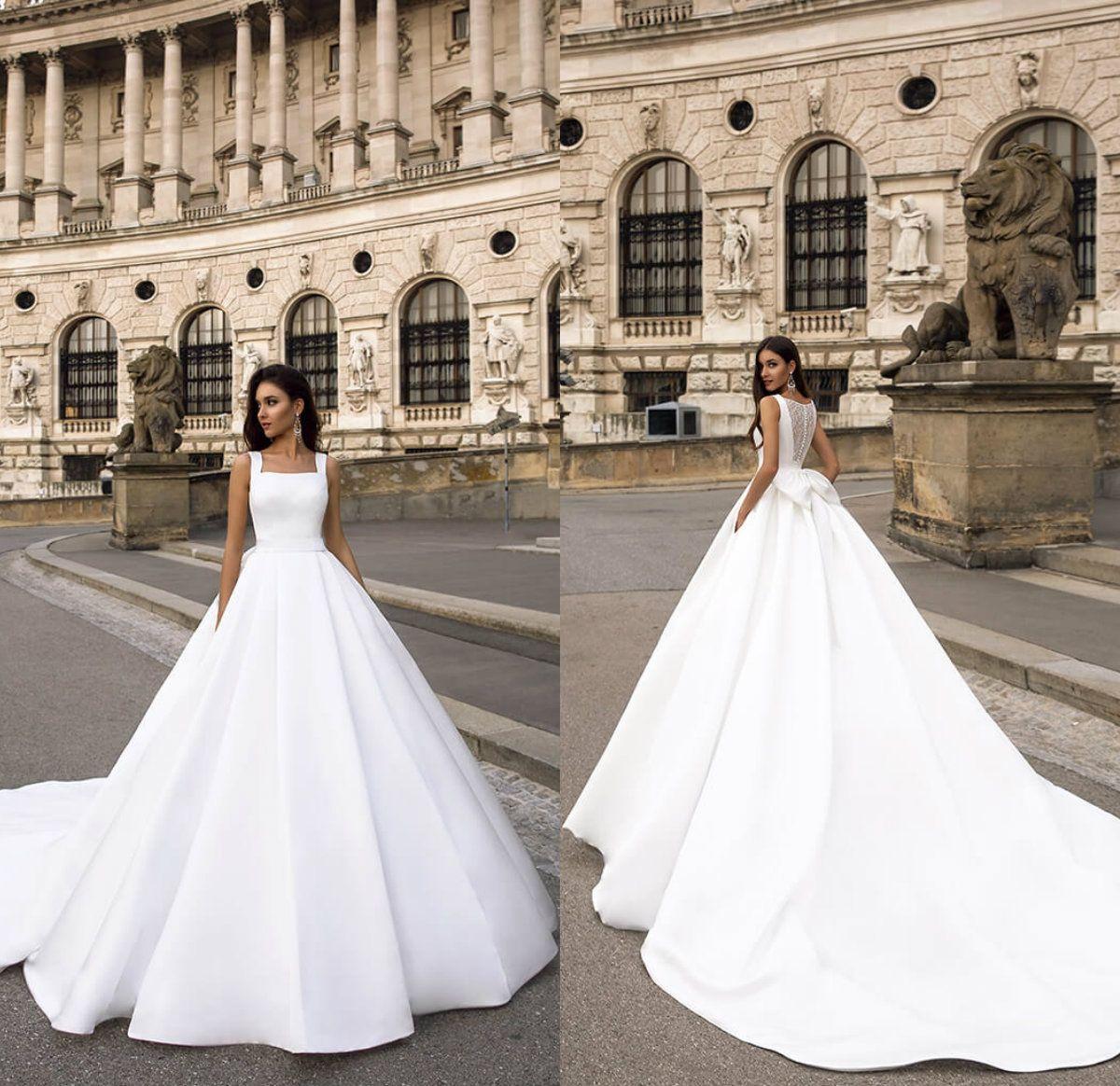 2020 أنيقة فساتين الزفاف الحرير الرقبة ساحة الرباط للخلف القوس الكبير شاطئ رخيصة فستان الزفاف مخصص قطار الاجتياح Vestidos دي Noiva