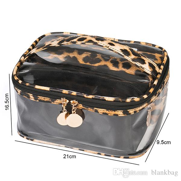 3pc/set fashion women zipper Leopard Print Cosmetic Bag Three Piece Pvc Transparent Bag Multi-Function Waterproof Large Capacity Storage Bag