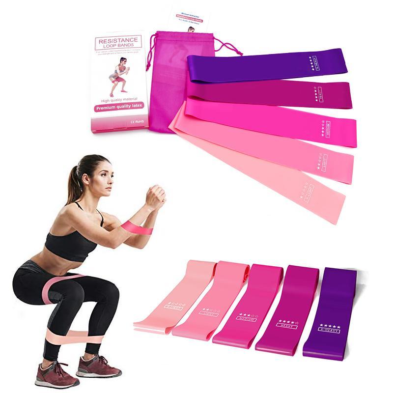 DHL Shipping Rosa Set Resistência Rubber loop banda de exercício Yoga Pilates treinamento de força Workout faixas do exercício Homens Fitness Equipment B72F