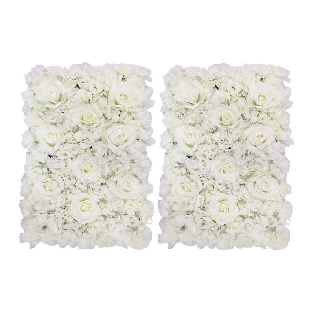 2 Paredes Painéis Pieces Flor para o contexto casamento Arranjo Floral Props Início Hanging Decor, Branco