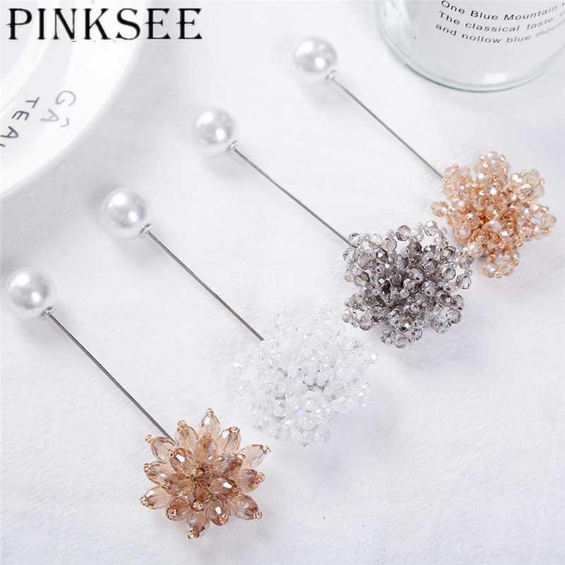 Joyería Pinksee delicado cristal de los granos del encanto broche de la flor larga aguja imitación de la perla Pin de la solapa de las mujeres bufanda de la manera de la hebilla