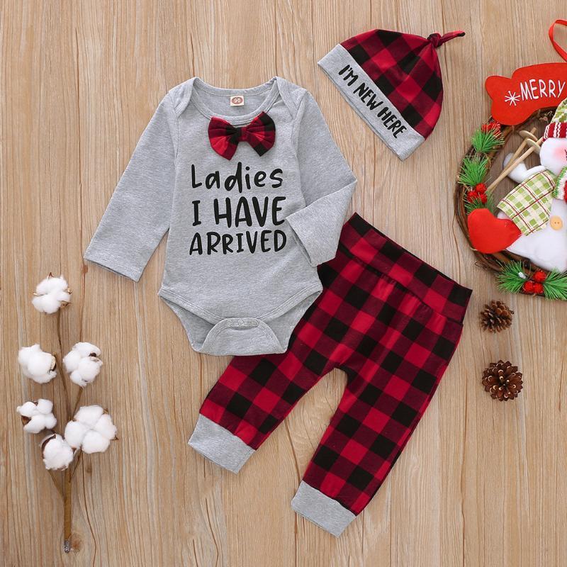 Yenidoğan Giyim Seti Bebek Boys 0-18 Ay Seti 3PCS Bow Tie Bebek Giyim giyim Ekose Gentleman Sevimli Uzun Kollu Bebek 06