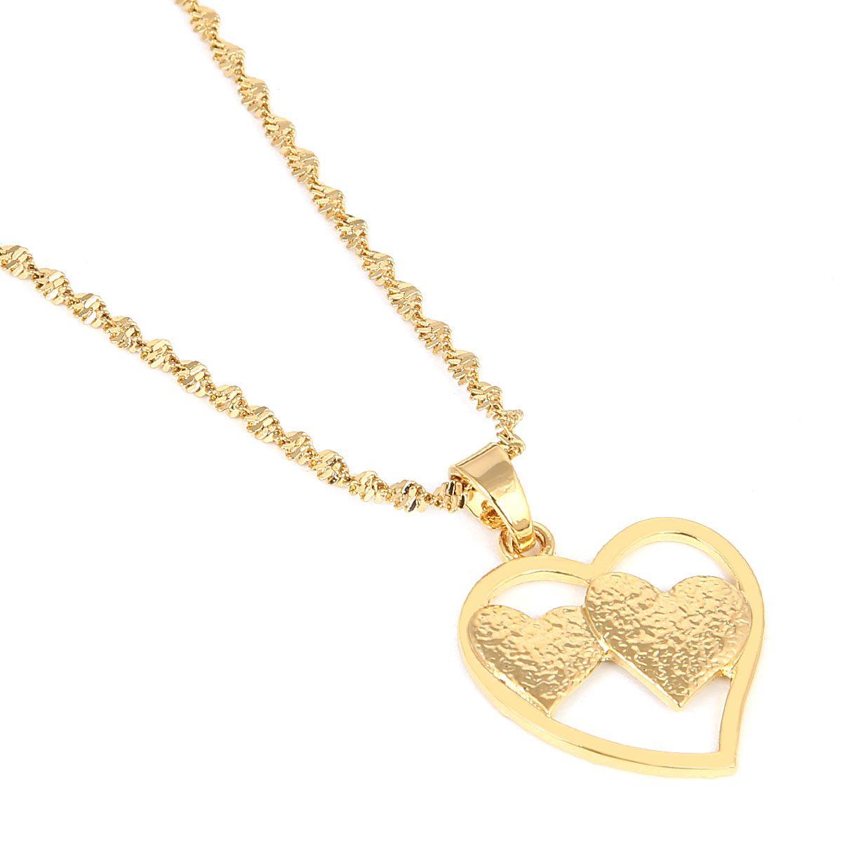 Corazón Colgante Collar Cadena Color Oro Amor Romántico Joyería Moda Mujer Chica Bonito regalo