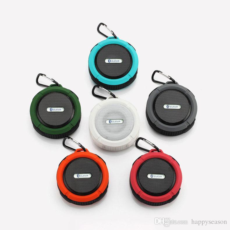 Портативный C6 Водонепроницаемый спикер Открытый спортивный беспроводной Bluetooth громкая Аудио FM с Sucker Hook Бесплатная доставка