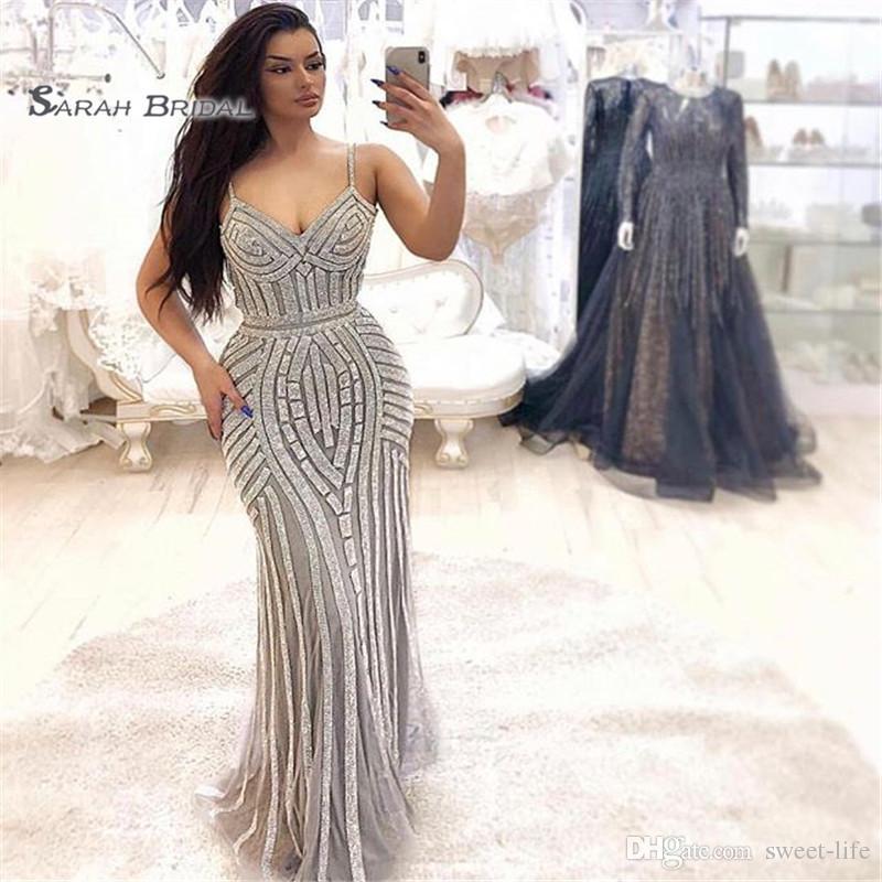 2019 sexy spaghetti sirena lentejuelas perlas tul vening desgaste en stock ventas calientes de alta gama vestido de ocasión