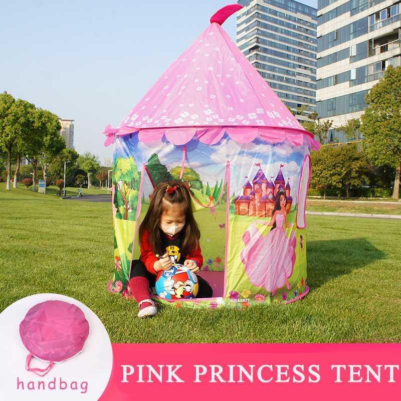 Up Camping Tente Château Portable Playhouse extérieur / Tente de plage pour les enfants avec des jouets d'intérieur Sac à main pour les filles Princesse Rose