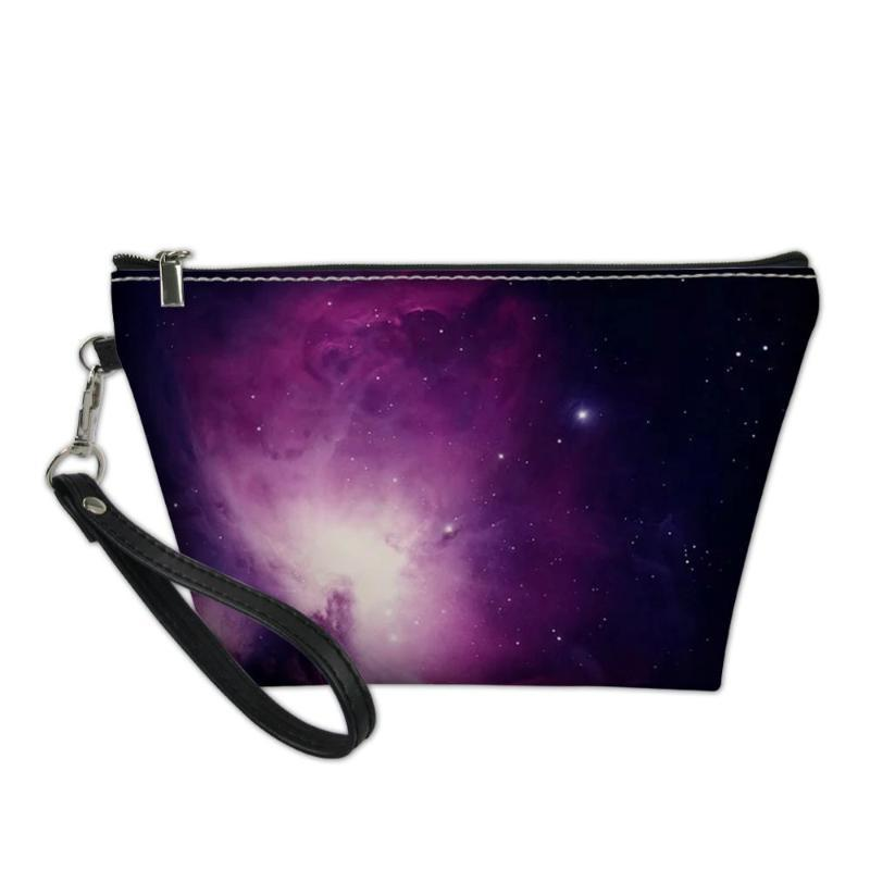 HYCOOL 2020 New 3D Impresso Cosmetic Space Bag Starry Sky Padrão Mulheres Moda Maquiagem Bolsa Meninas Adolescentes Zipper Make Up Bags