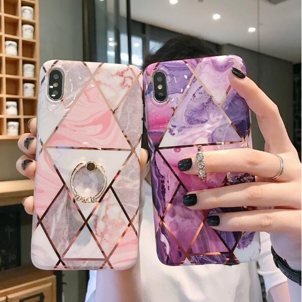 For Iphone 11 Pro Max X XS XR 8 7 PLUS 6 6S Diamond Ring Stand Marble Soft TPU Case Rock Painted Cell Phone Skin Back Cover Fashion 150pcs