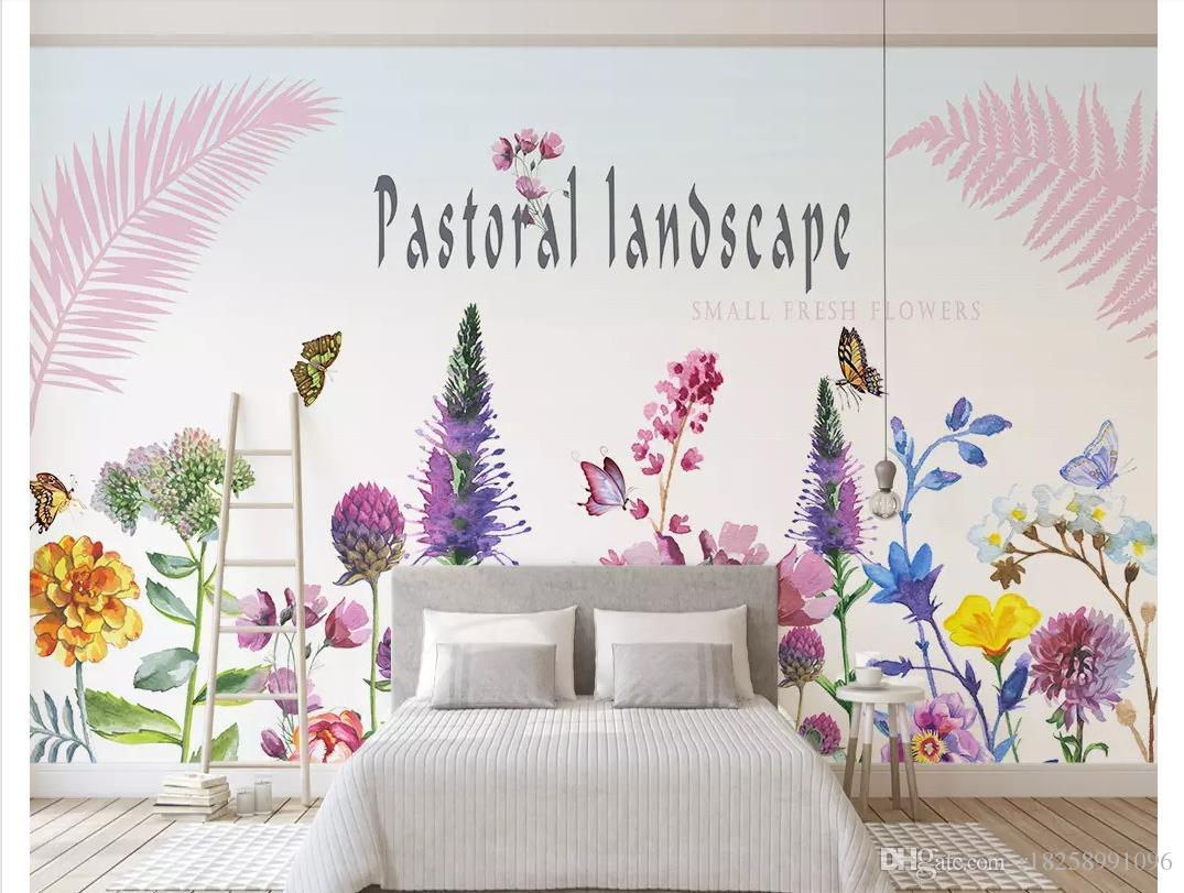Custom 3d photo murals wall paper Nordic minimalist creative small fresh garden color floral butterfly background wall papel de parede