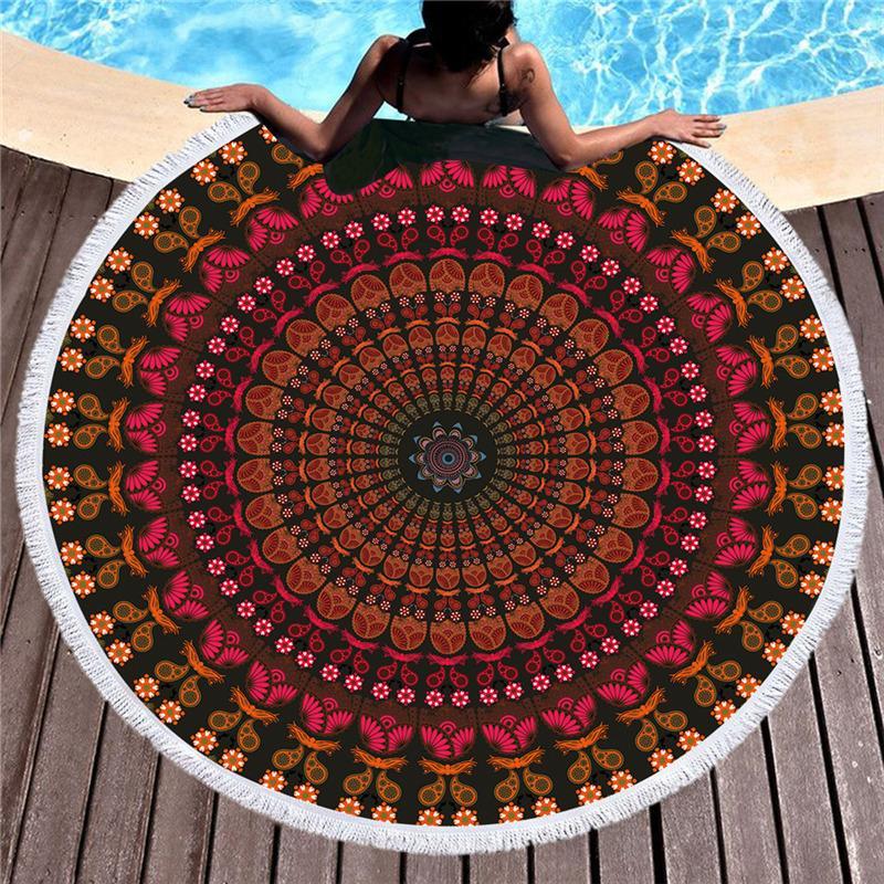 Mandala Гобелен Круглый Большой 150см Мягкая пляжное полотенце для взрослых стены вися микрофибры банное полотенце с кисточкой Throw Yoga Mat
