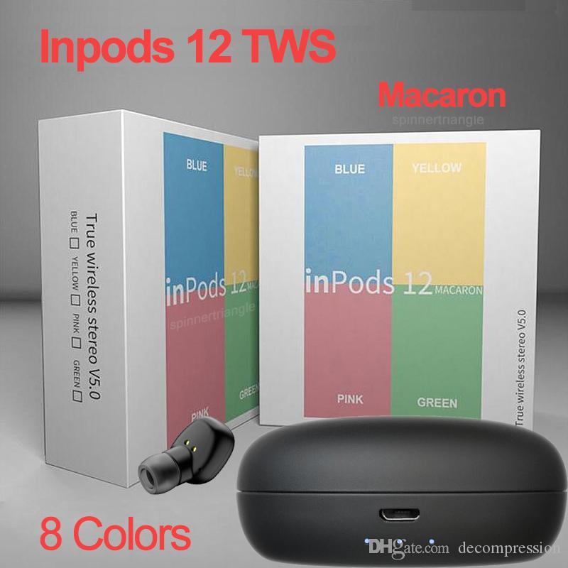 سماعات بلوتوث اللاسلكية inpods12 F3 TWS inpods 12 معكرون V5.0 ستيريو الهاتف الخليوي سماعات الرياضة Sweatproof سماعة الأذن التي تعمل باللمس
