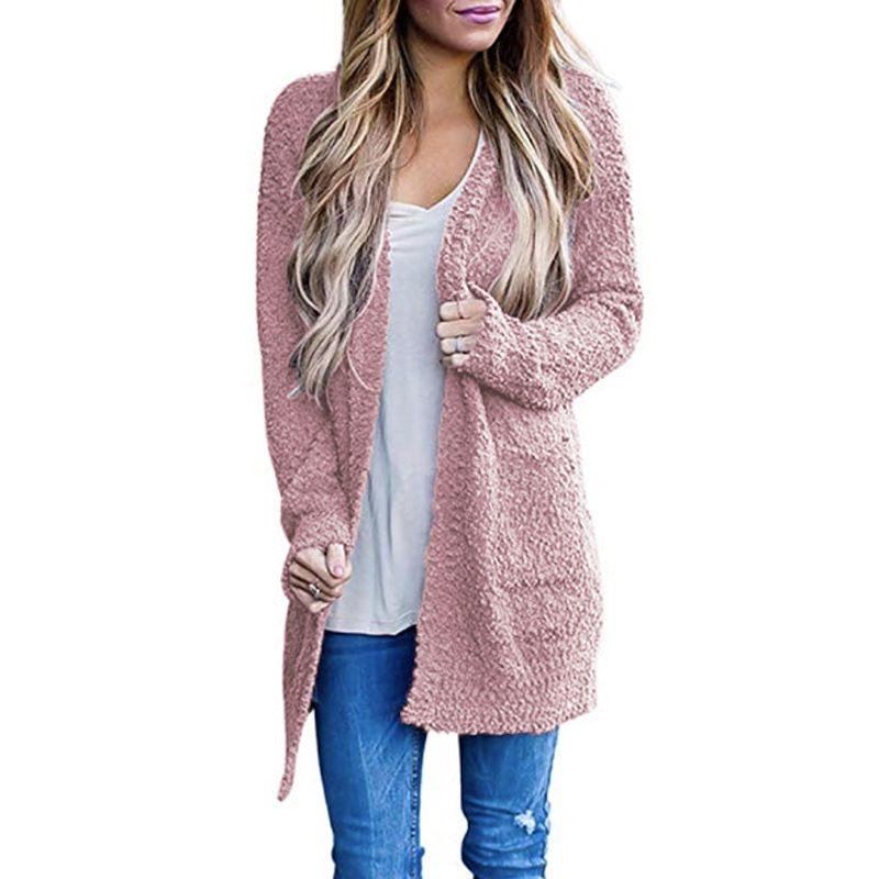 Для женщин дизайнера вязать кардиган сплошного цвета свитер для молодежи Девушки бренда Casual Tops средней длиной пальто свитера 2019 Нового Trend