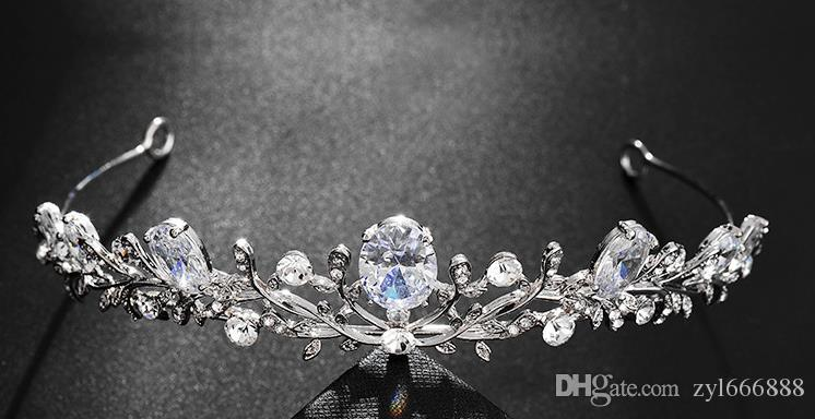 Циркон Корона Новый европейский и американский горячий продавать брак Корона обруч невесты свадебное платье соответствия