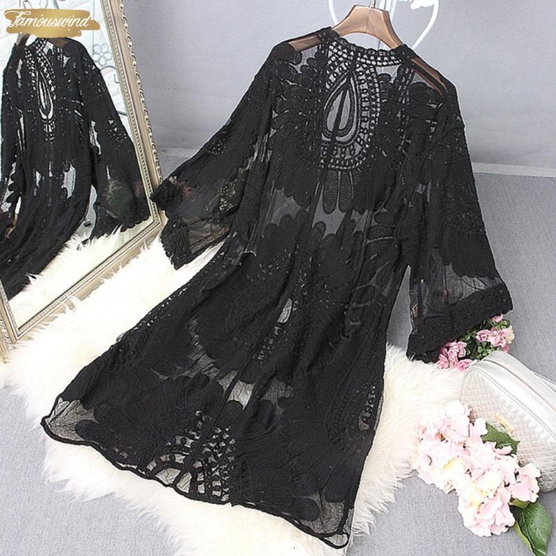 Качество Хорошие Женщины Сплошной купальник Бич Cover Up Мантия вышивки Купальники женщин Цветочные Кардиган Bathingsuit Женщина Одежда