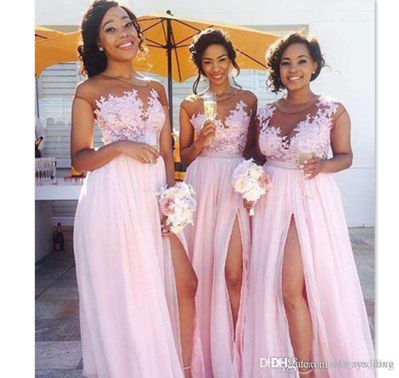 2019 hellrosa lange Brautjungfer Kleid billig Split Side Appliques Chiffon Garten Hochzeit Party Gast Trauzeugin Kleid Plus Size Custom Mad