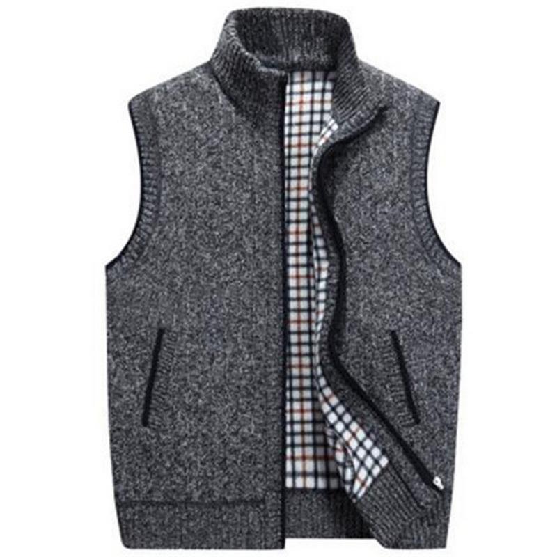 PUIMENTIUAMens Winter-Wollpullover Westen Herren ärmellos Strickweste Jacke 2019 neue warme Fleece Sweatercoat Plus Size