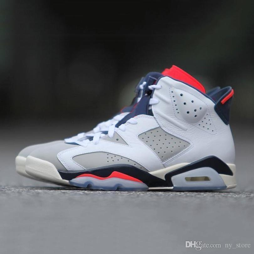 box6S with Box Tinker With VI 6 men women basketball shoes 384664-104 White Infrared 23 Neutral Grey-Sail mens trainer sports sneakers 36-47