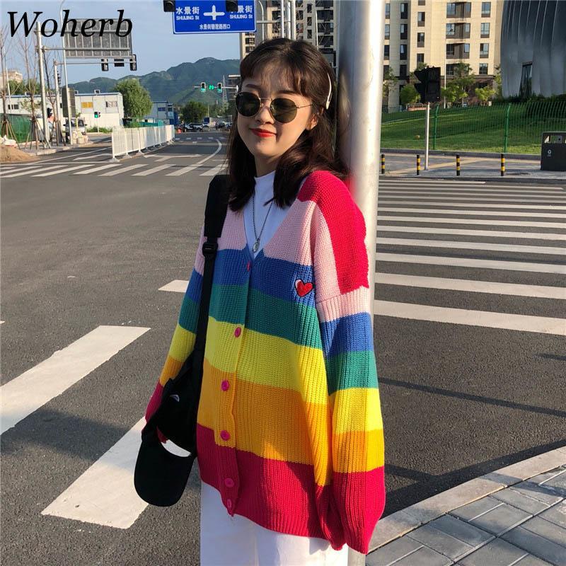 Woherb Spring 2019 Harajuku Rainbow Cardigan Donna Maglione allentato Cappotto Donna Maglioni oversize Lettera Ricamo Maglione 20155 S19802