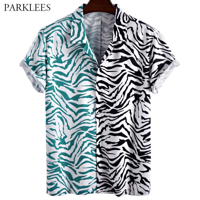 Мужские повседневные рубашки лоскутное леопардовое леопардовое печать мужская рубашка 2021 мода лето для мужчин Кнопка Свободная химия Homme Daily Streetwear