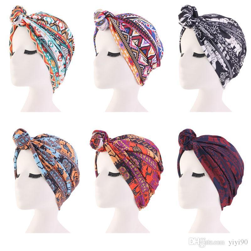 Muslim Womens Elastic Print Flower Sleeping Knot Cotton Beanie Turban Hat Cancer Chemo Cap Hair Loss Cover Headwear Accessories