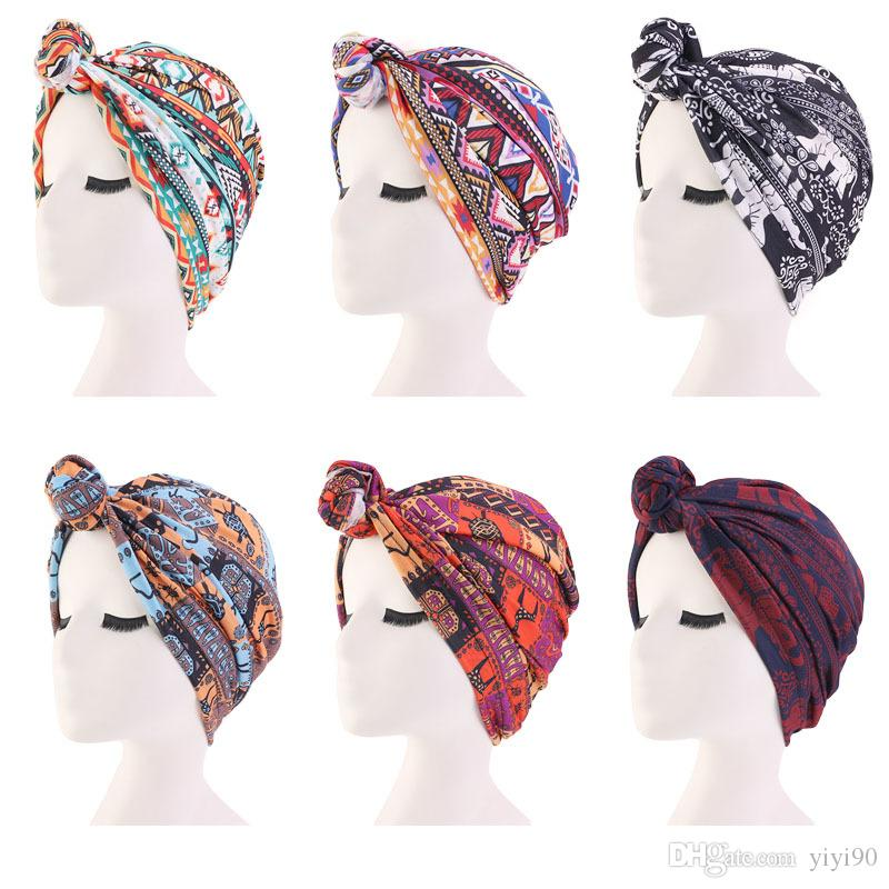 Muslim Womens Elastic Print Flower Sleeping Knot Cotton Beanie Turban Hat Cancer Chemo Cap Hair Loss Cover Headwear Accessories