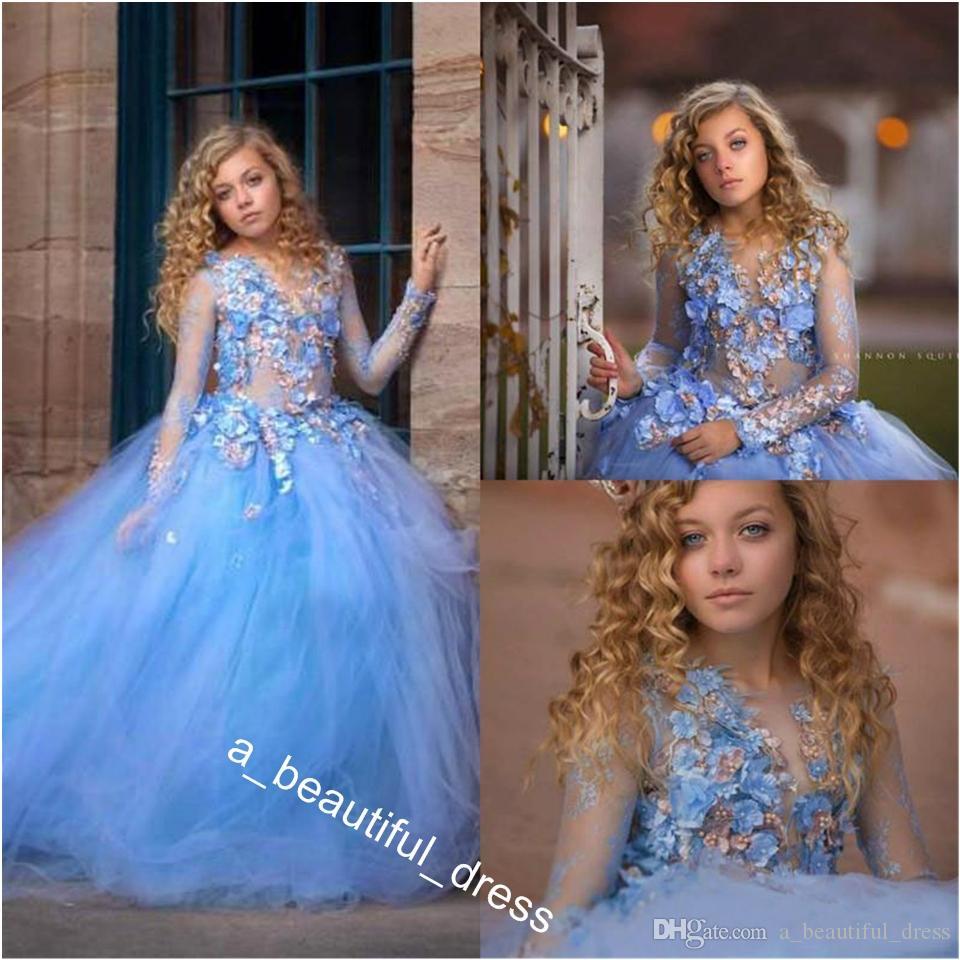 Princesse 3d Fleurs Robes pour le mariage à manches longues robe de bal perles Appliques enfants Pageant Robes robe de première communion FG1284