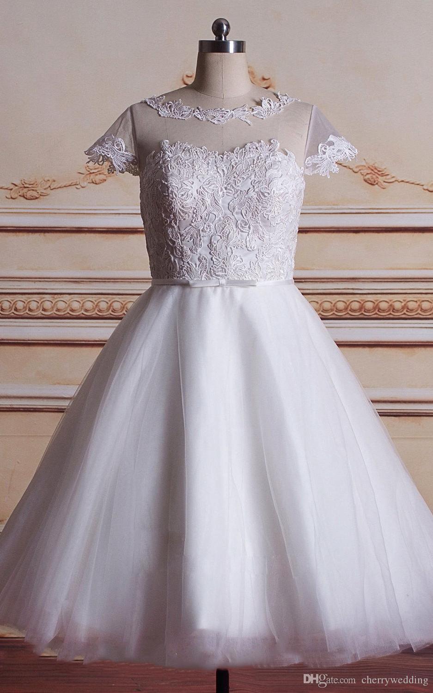 قصيرة الشاي طول weddig اللباس الرباط زين على صد تول التنانير ضيقة الحرير حزام زائد حجم فستان الزفاف فساتين الزفاف قصيرة SW0099