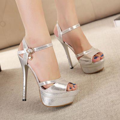 Summer Rome Style Fashion 14cm Sandalias de mujer Plataforma Sandalias de tacón alto Lujoso Oro Plata Zapatos de dama