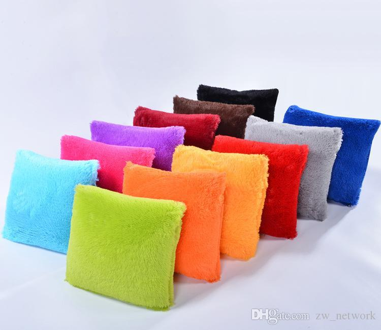 Soft candy color plush throw pillow cover faux fur pillowcases for car sofa cushion case bedroom living room pillow case 15 colors 43*43cm