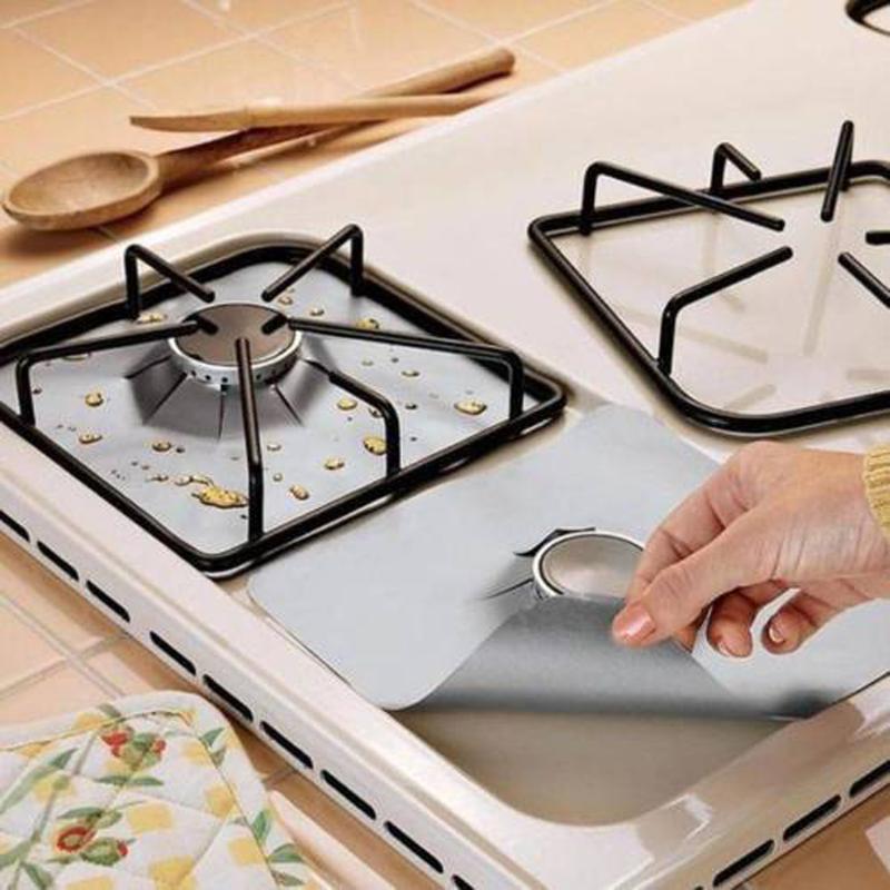 الجدول عداء 4 قطعة / المجموعة قابلة لإعادة الاستخدام الألومنيوم احباط موقد حامي غطاء بطانة غير عصا آمنة واقية غسالة أطباق لوازم المطبخ