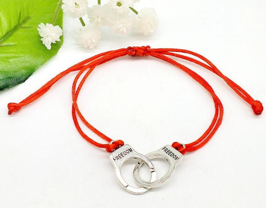 Silver Handcuffs Bangle Adjustable Red wax Cord Bracelet Personality Alloy Fashion Charm Bracelet For Men Woman Jewelry Accessorie