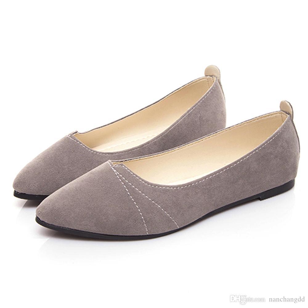 İlkbahar ve Sonbahar kadın Loafer'lar Topuk Düz Ayakkabı Tekne Kadın Comfy Rahat Bayanlar Kadın Ayakkabı JNSJC