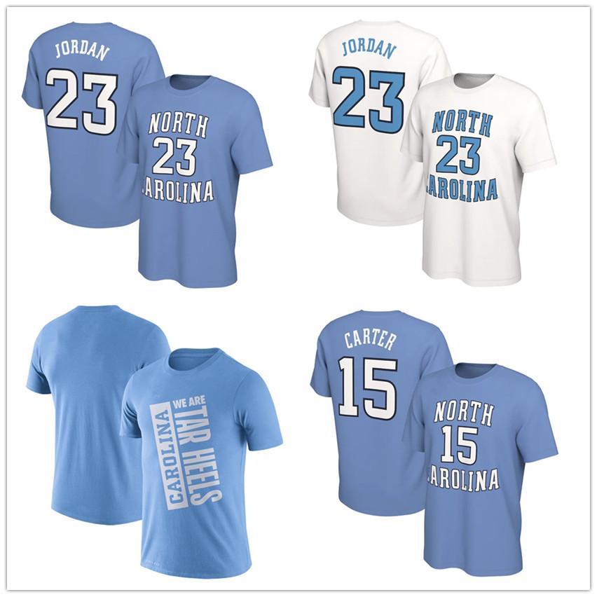 الرقص آخر NCAA نورث كارولينا تار الكعوب T قميص 15 كارتر 23 مايكل MJ الرجال تصميم قمصان كلية كرة السلة الفانيلة قمصان مطبوعة